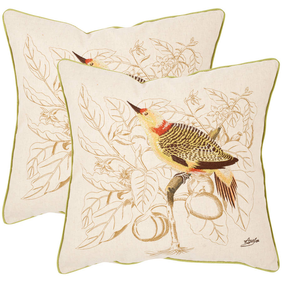 Safavieh Esty Embroidered Bird Pillow, Set of 2