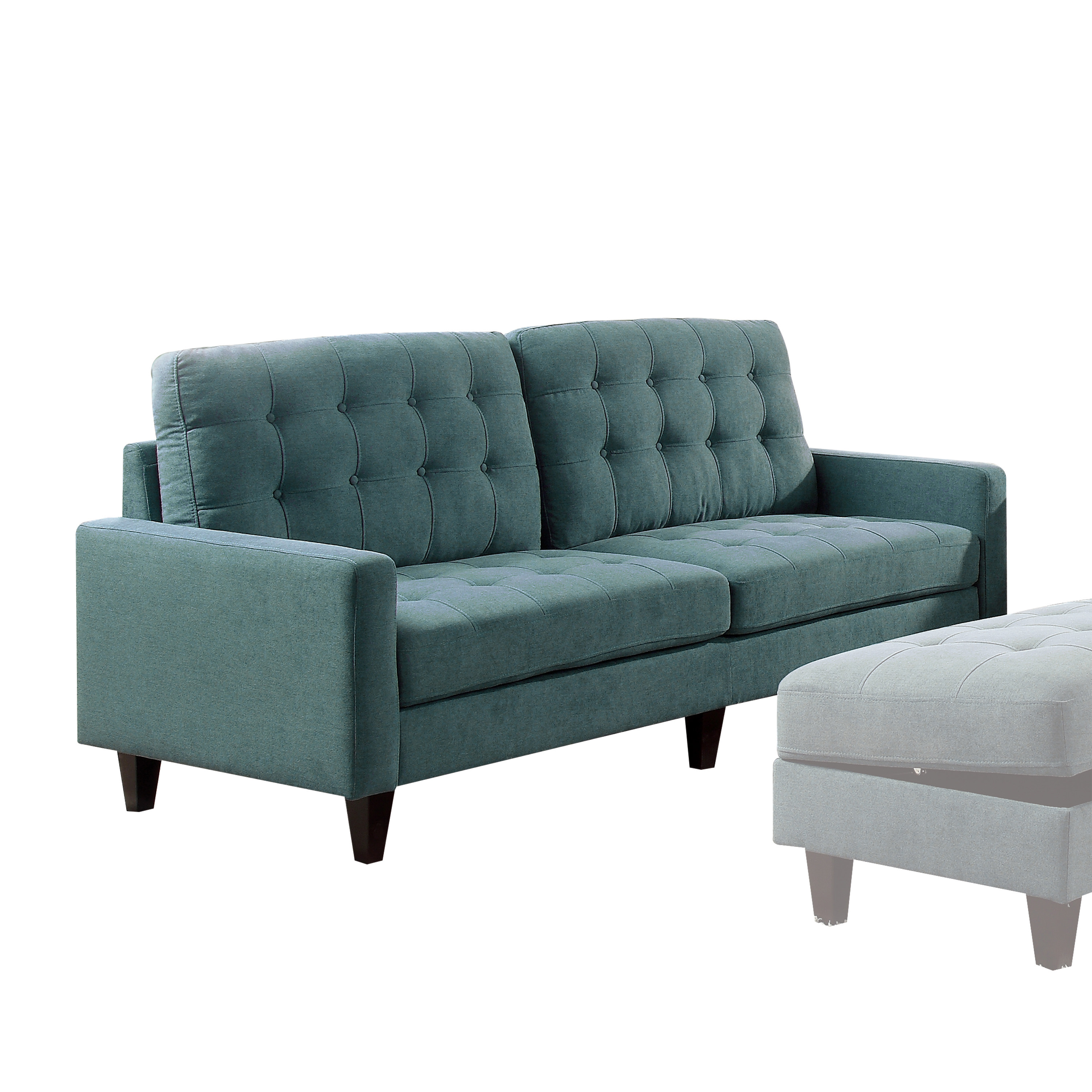 Acme Nate Memory Foam Sofa with Tufting in Teal Fabric