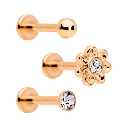 Body Candy 3Pc 16G Plated Steel Clear Accent Rosy Flower Internally Threaded Labret Monroe Lip Tragus 5/16