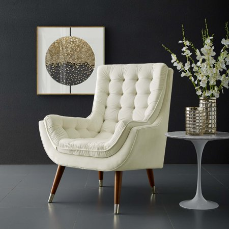Suggest Button Tufted Upholstered Velvet Lounge Chair in Ivory