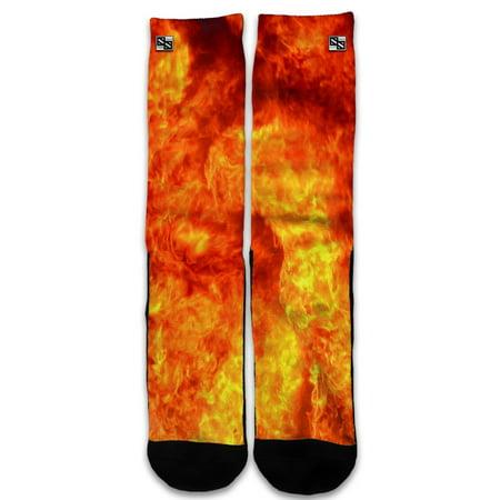 Custom Elite Style Athletic Sport Socks Crew 18 Inch / True Fire