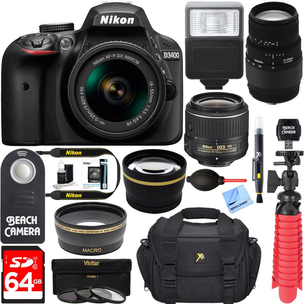 Nikon D3400 24.2 MP DSLR Camera + (18-55mm VR Nikon & 70-300mm SLD
