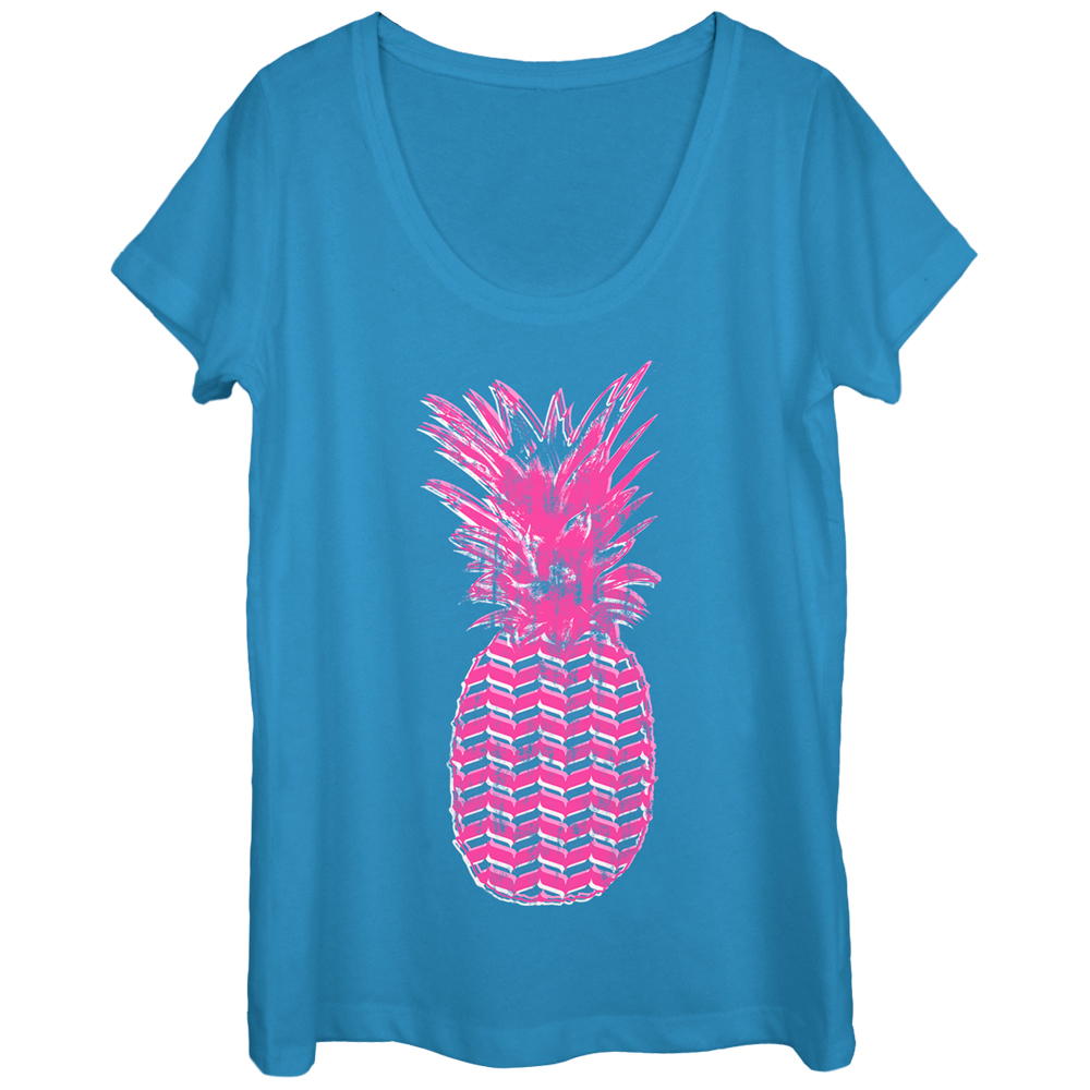 Lost Gods Geometric Print Pineapple Womens Graphic Scoop Neck