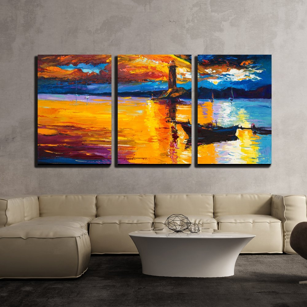 "wall26 - 3 Piece Canvas Wall Art - Original Oil Painting of Lighthouse and Boats on Canvas - Modern Home Decor Stretched and Framed Ready to Hang - 16""x24""x3 Panels"