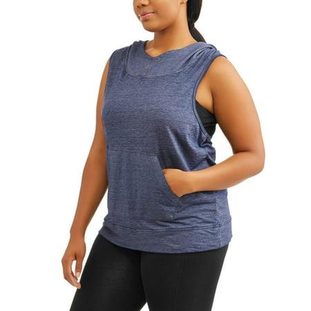 49e19b7a984 Active - Women s Plus Burnout Sleeveless Hoodie - Walmart.com