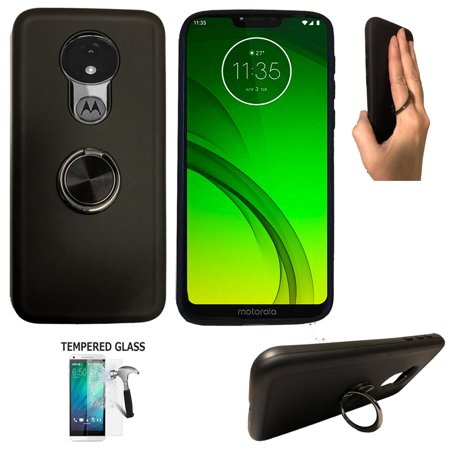 For Straight Talk Moto G7 Optimo Case / Motorola G7 Play Phone Case (Not for G7 Power/ G7 / G7 Plus) Tempered Glass with shock absorbing Chrome Ring Cover Stand (Ring Black +Tempered Glass)