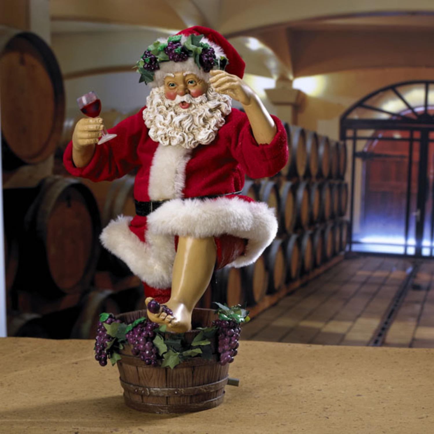 "11"" Fabrich���� ""Wine Time"" Santa Stomping Grapes Christmas Figure"