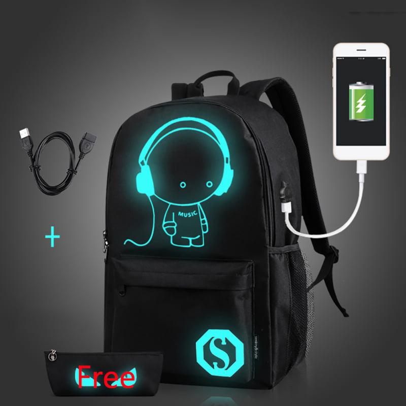 ENJOY USB Charge Cool Boys School Backpack Luminous School Bag Music Boy Backpacks Black by