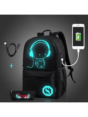b82a0aec2439 Product Image ENJOY USB Charge Cool Boys School Backpack Luminous School  Bag Music Boy Backpacks Black