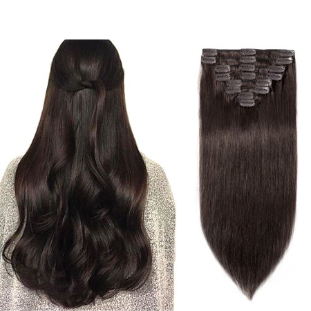 (S-noilite Remy Clip in Full Head Straight 100% Human Hair Extensions 8 pcs Dark Brown,10