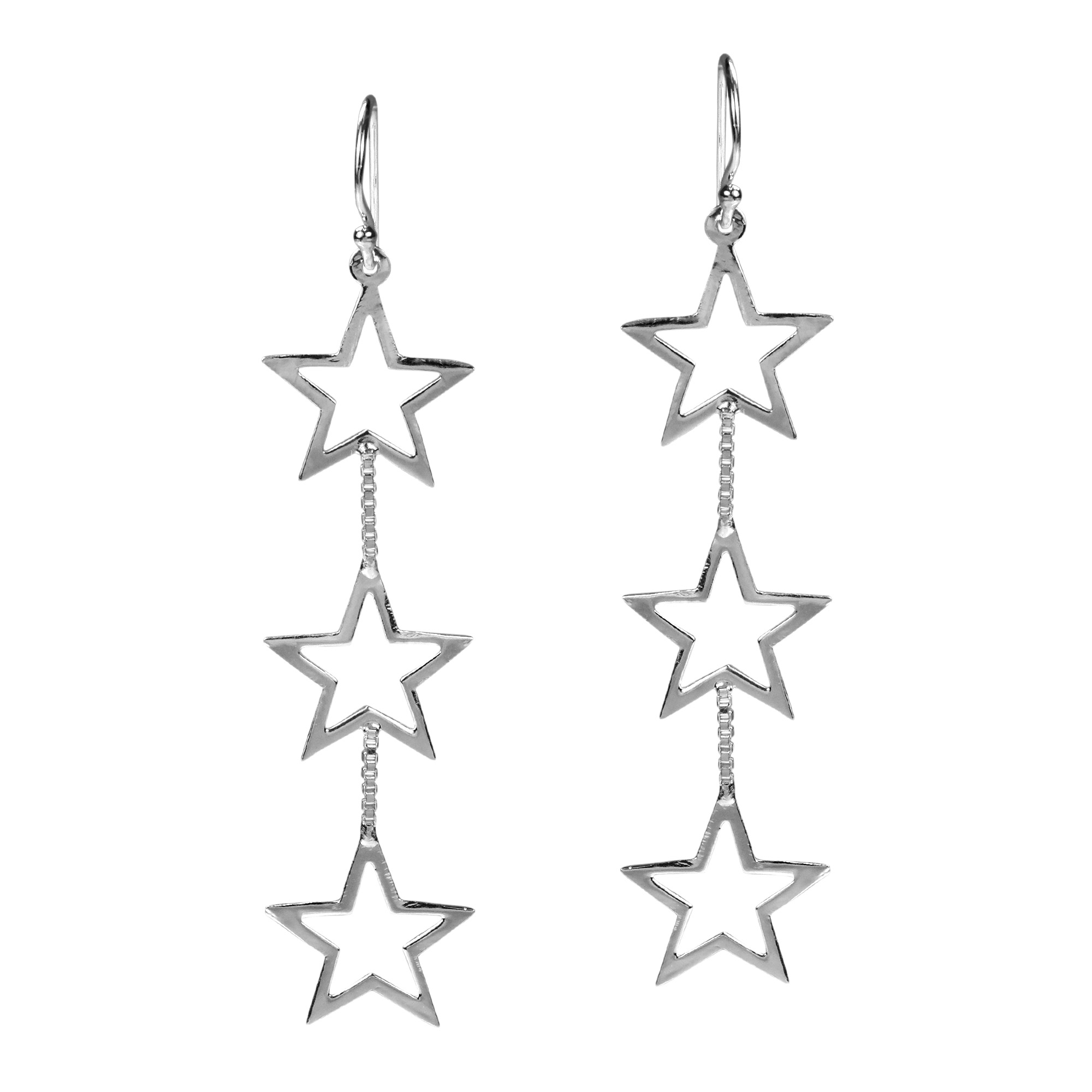 Triple Retro Open Star Link 925 Sterling Silver Dangle Earrings