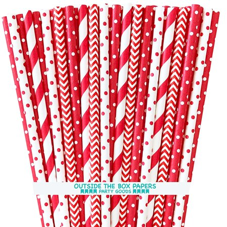 Paper Drinking Straws - Red and White - Stripe Chevron Polka Dot - 7.75 Inches - 100 -