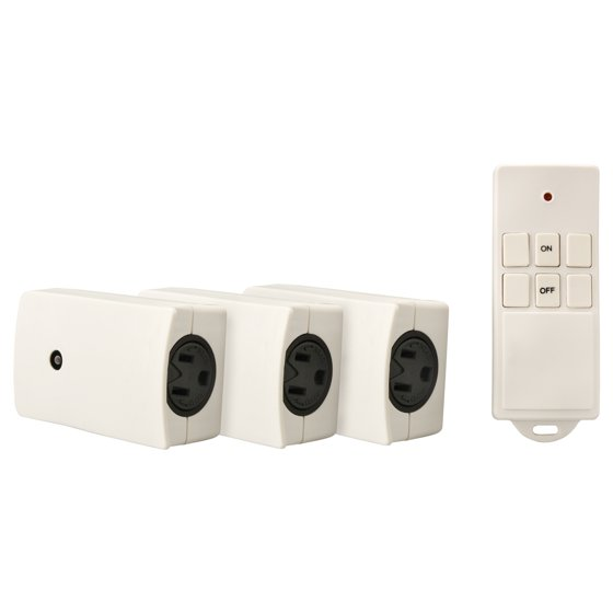 Indoor Wireless Remote Control with 3 Outlets, 3-Pack, White, 13569