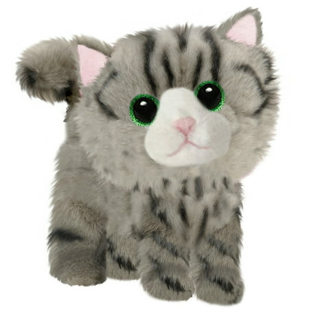 First and Main - Fluffles Grey Striped Kitten Plush, 7 Inches Sitting