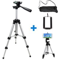 Professional Camera Tripod Stand Mount + Phone Holder for Cell Phone iPhone 11/11 Pro XS XR X 8 7 6 6S Plus Samsung Galaxy Note S10/S10E/ 9/8 S9 S8 S7 S6 Edge(Plus), LG G7/G6