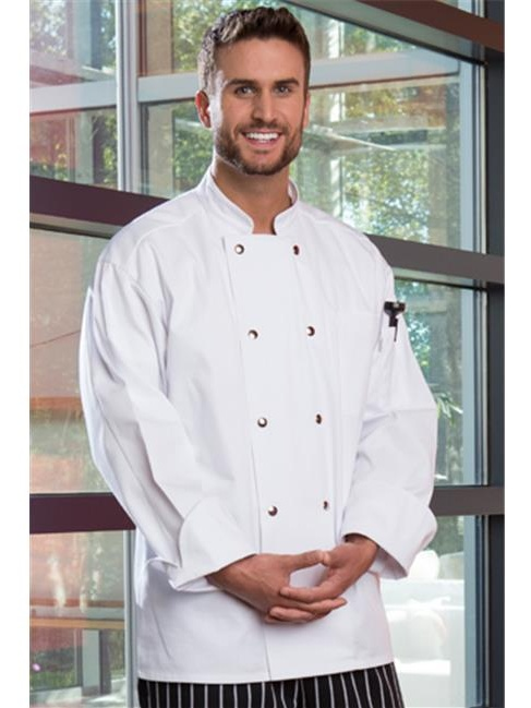 uncommon threads unisex  reaction chef coat 10 snaps, black, large