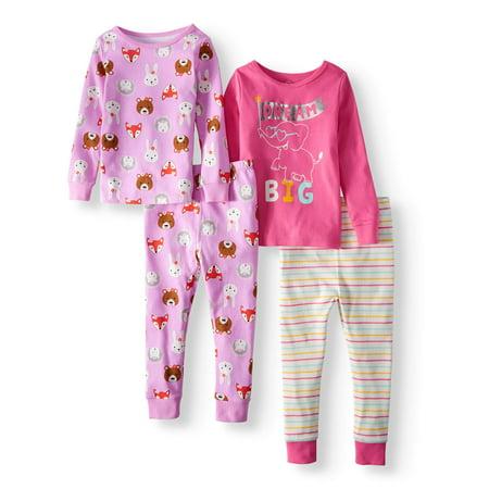 Cotton Tight Fit Pajamas, 4-piece Set (Toddler Girls)