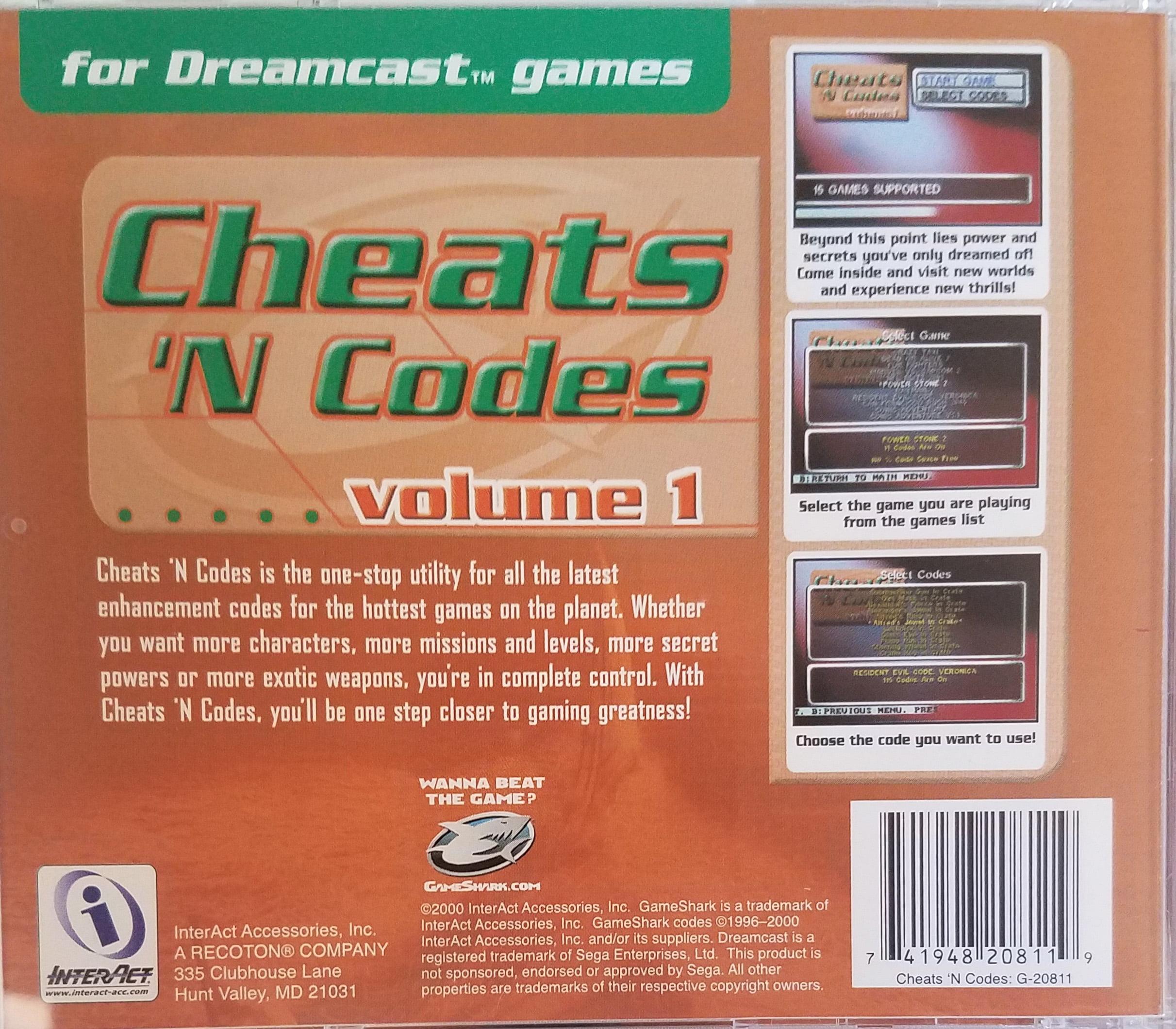 GameShark Cheats 'N Codes Volume 1 for Sega Dreamcast Games / Boot Disc  Import Enabler for European and Japanese Games