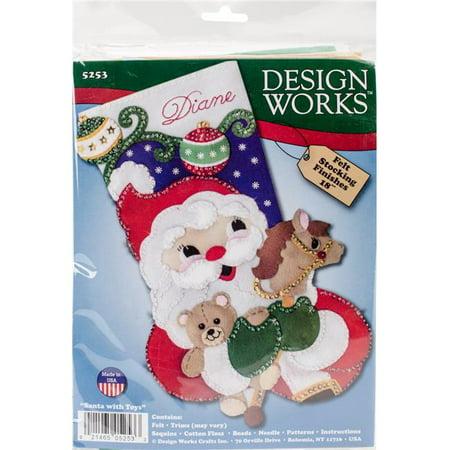 "Design Works Felt Stocking Applique Kit 18"" Long-Santa & Toys"