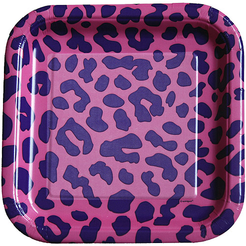 "9"" Square Pink Leopard Print Party Plates, 12ct"