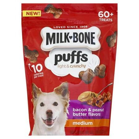 (2 pack) Milk-Bone Puffs Crunchy Dog Treats, Bacon and Peanut Butter Flavor, Medium Size, 8-Ounce - Peanut Butter Puffs