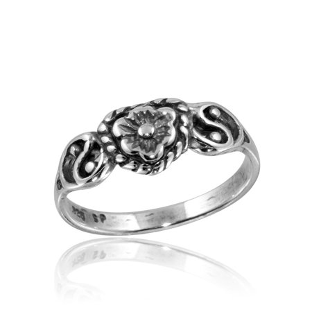 High Polished Sterling Silver Flower With Two Yin Yang Symbol Sides Ring Size 6