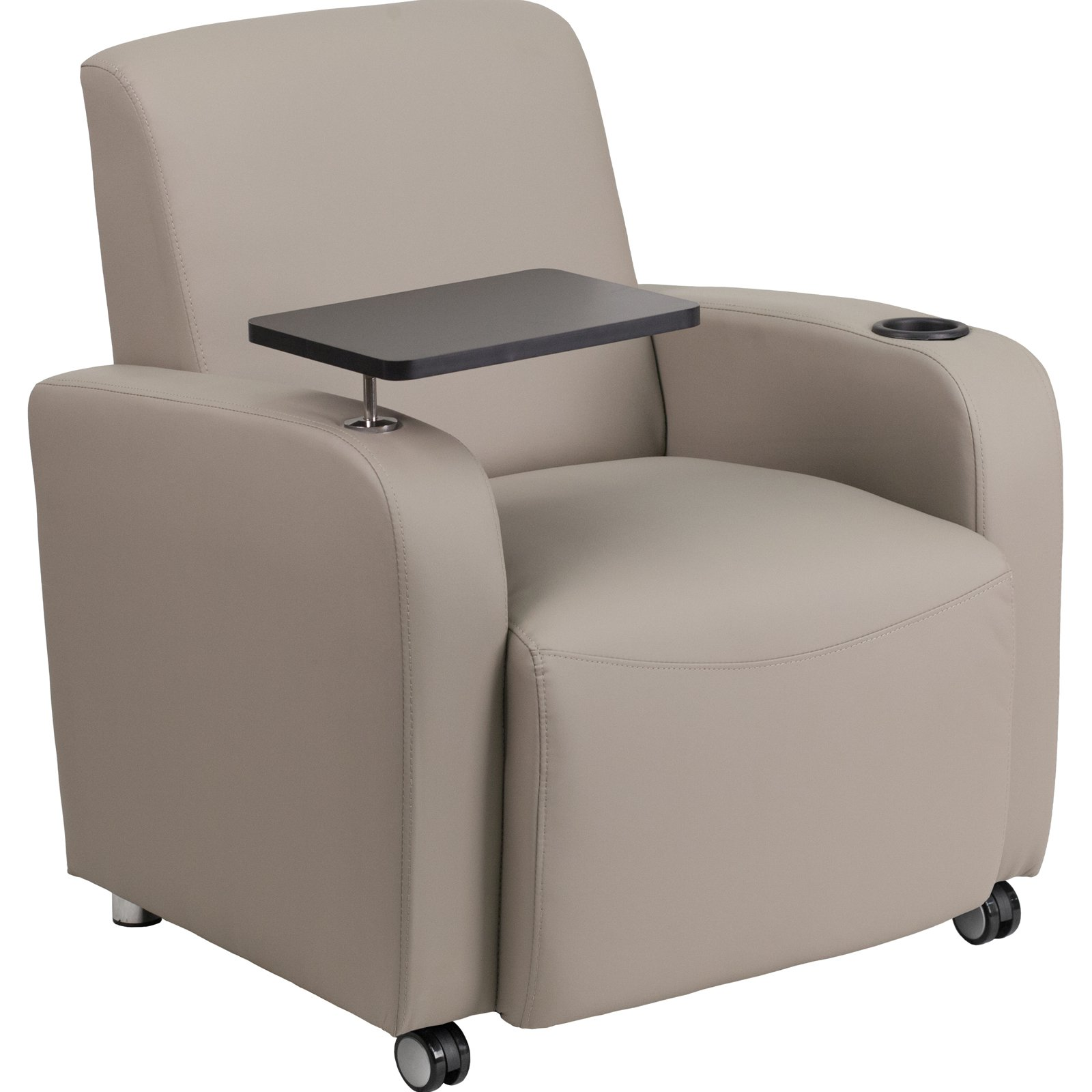 Flash Furniture Leather Guest Chair with Tablet Arm Front Wheel Casters and Cup Holder