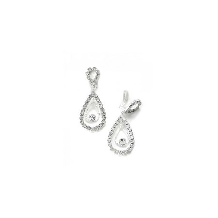 Silver Crystal Rhinestone Two Layer Teardrop Pear Dangle Clip