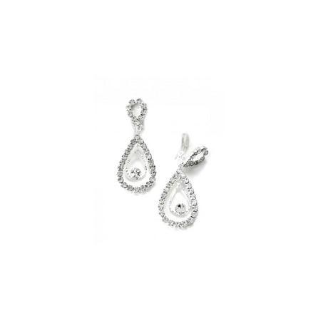Silver Crystal Rhinestone Two Layer Teardrop Pear Dangle Clip Earrings Crystal Teardrop Necklace Earrings