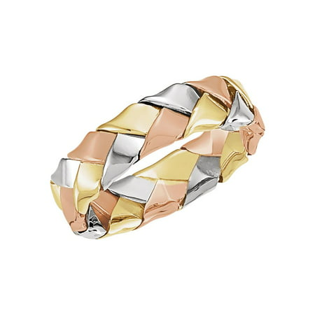Jewels By Lux 14K White Yellow and Rose Tri Color Gold Woven Wedding Ring Band Size 6