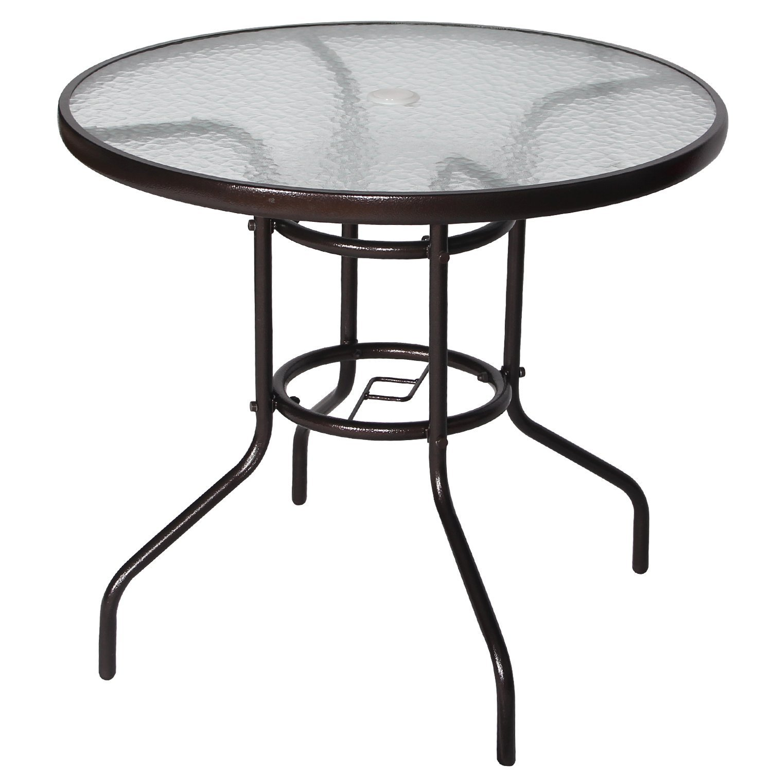 "Cloud Mountain 32"" Outdoor Dining Table Patio Tempered Glass Table Patio Bistro Table Top Umbrella Stand Round Table Deck Garden Home Furniture Table, Dark Chocolate"