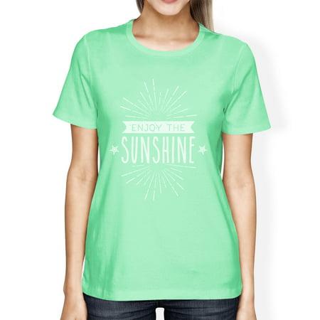 Enjoy The Sunshine Womens Mint Short Sleeve Lightweight Summer Tee ()