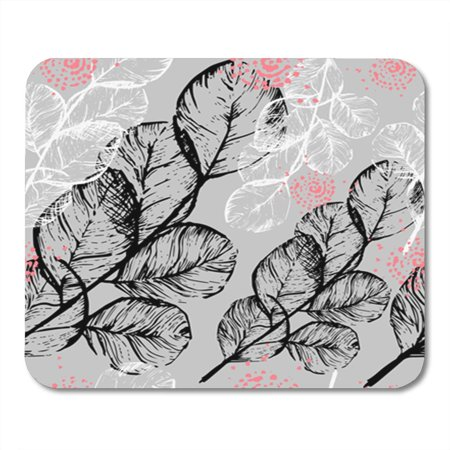 SIDONKU Pattern Ink Floral Black and White Branches Leaves Coral Pink Mousepad Mouse Pad Mouse Mat 9x10 inch (Black Coral Branch)