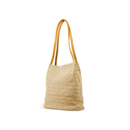 OCT17 Women Straw Beach Bag tote Shoulder Bag Summer Handbag - Yellow](Beach Bags Cheap)