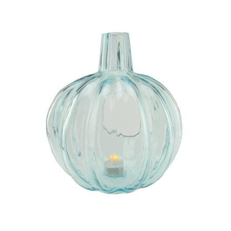 """9"""" Transparent Light Blue Glass Pumpkin Shaped Pillar Candle Holder"""