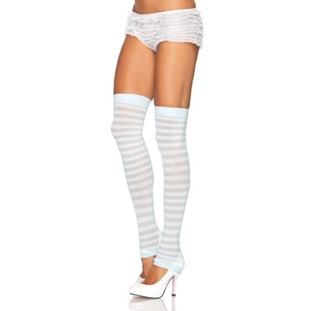 Leg Avenue Women's Opaque Stripe Leg Warmers, White/Light Blue, One Size - Blue And White Striped Leggings