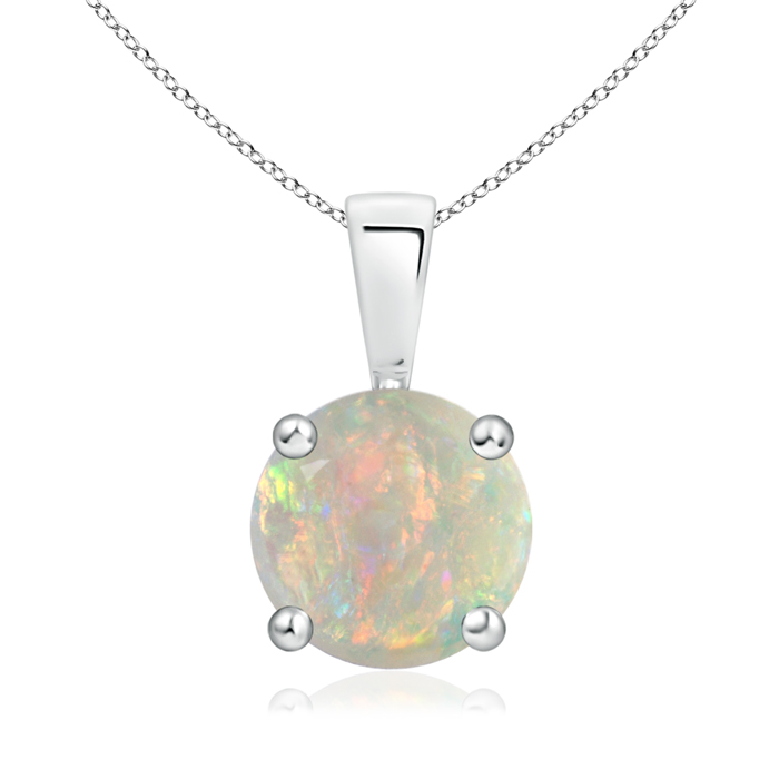October Birthstone Pendant Necklaces Prong Set Round Opal Solitaire Pendant in .925 Sterling Silver (8mm Opal)... by Angara.com