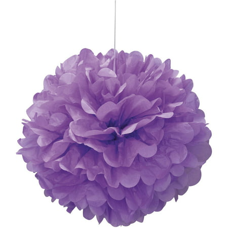 (3 pack) Tissue Paper Pom Pom, 16 in, Purple, 1ct (Colored Tissue Paper)
