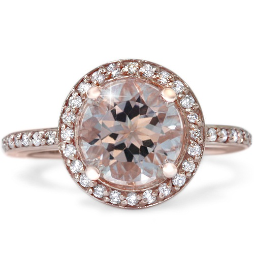 2ct Morganite & Diamond Halo Vintage Antique Engagement Ring 14K Rose Gold by Pompeii3