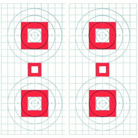 100 Pcs of Four Bull's-Eye Rifle Sighting Target on Heavy Paper Red center with 1