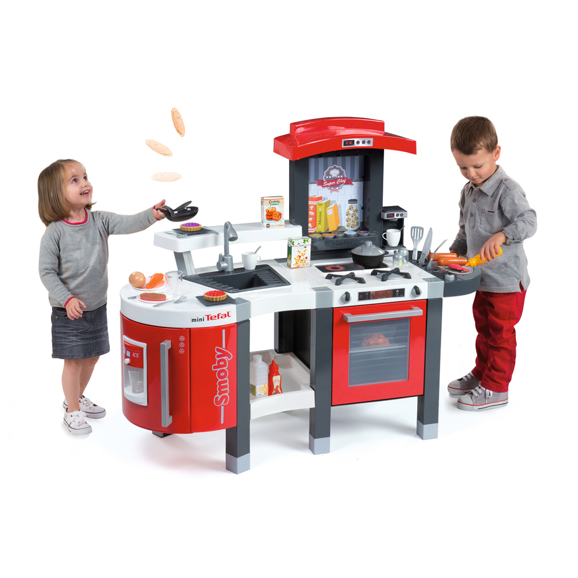 Smoby - Tefal Super Chef Deluxe Play Kitchen with 47 Accessories ...