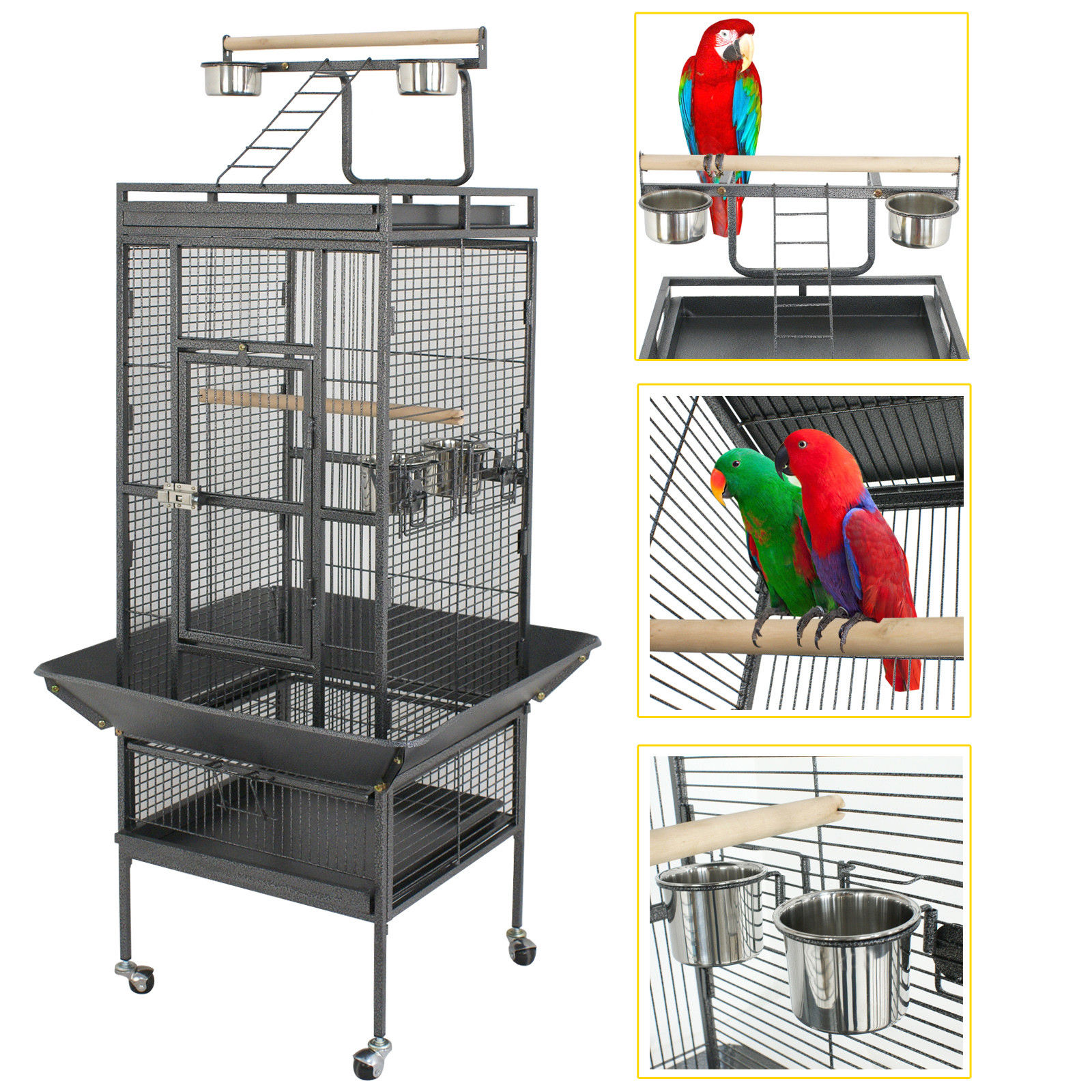 "Zeny 61"" Large Bird Cage Large Play Top Parrot Finch Cage Macaw Cockatoo Pet Supplies"