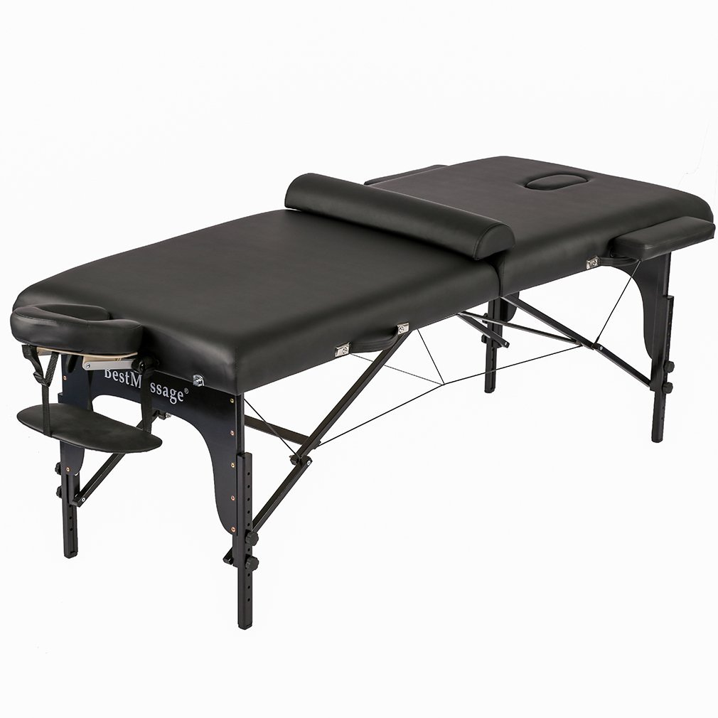 "77"" PU Portable 3"" Padding Folding Massage Table W/Free Carry Case Bed Spa Facial"