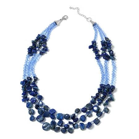 Blue Glass Necklace - Women's Lapis Lazuli Blue Glass Necklace Gift Jewelry 18