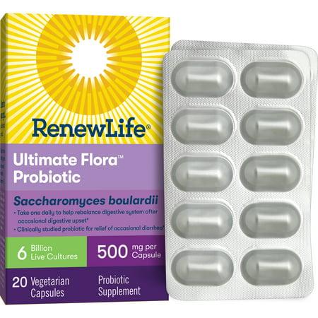 Renew Life - Ultimate Flora Probiotic Saccharomyces Boulardii - 6 Billion - 20 vegetable capsules