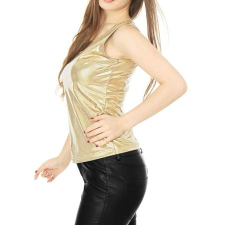 8bd4dcf6d85b81 Unique Bargains Women s U Neck Stretchy Slim Fit Metallic Tank Top Gold ( Size M ...