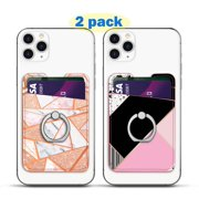 Tekcoo (2 pack) Phone Card Holder, Luxury PU Leather ID Credit Card Wallet Sticker Case Pouch Pocket 3M Adhesive Stick on iPhone Samsung Galaxy LG Stylo 5 4 3 Motorola Oneplus Android Smartphones