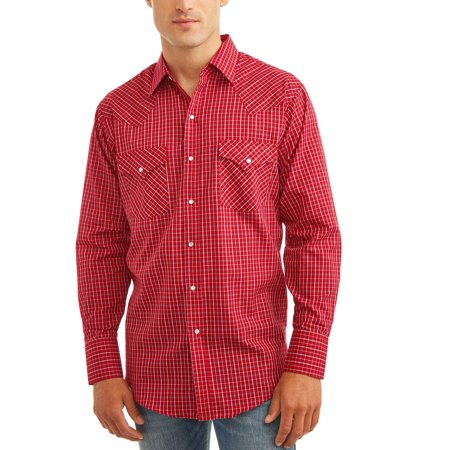 - Big And Tall Men's Long Sleeve Western Check Shirt