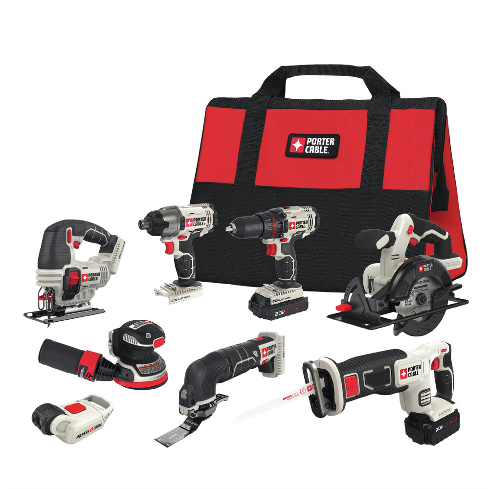 Factory-Reconditioned Porter-Cable PCCK6118R 20V MAX Lithium-Ion 8-Tool Combo Kit (Refurbished) by