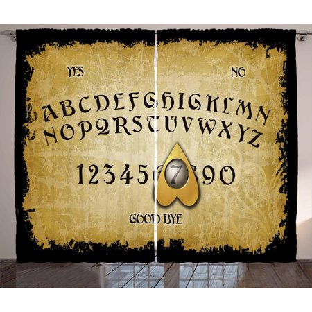 Ouija Board Curtains 2 Panels Set, Grungy Board Design with Vanished Scratchy Background, Window Drapes for Living Room Bedroom, 108W X 84L Inches, Pale Coffee Earth Yellow and Black, by Ambesonne ()